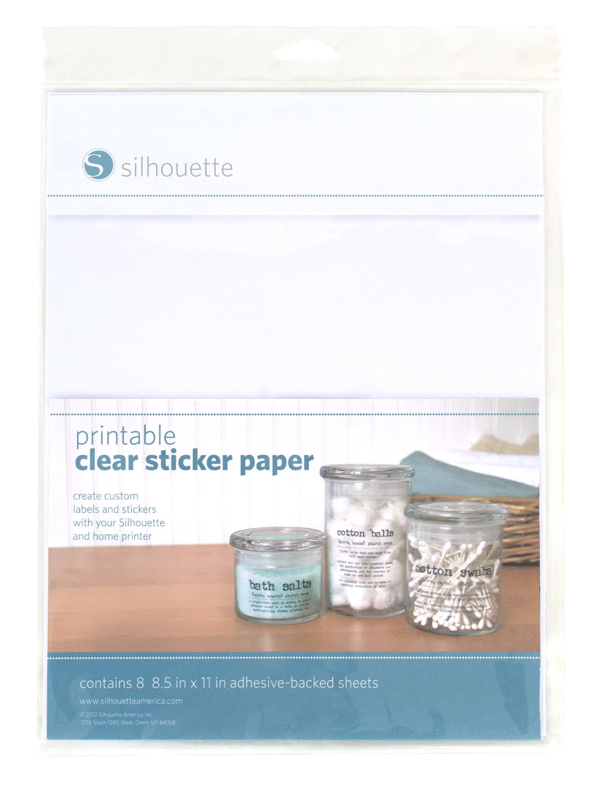 Silhouette MEDIA-CLR-ADH Printable Clear Sticker Paper