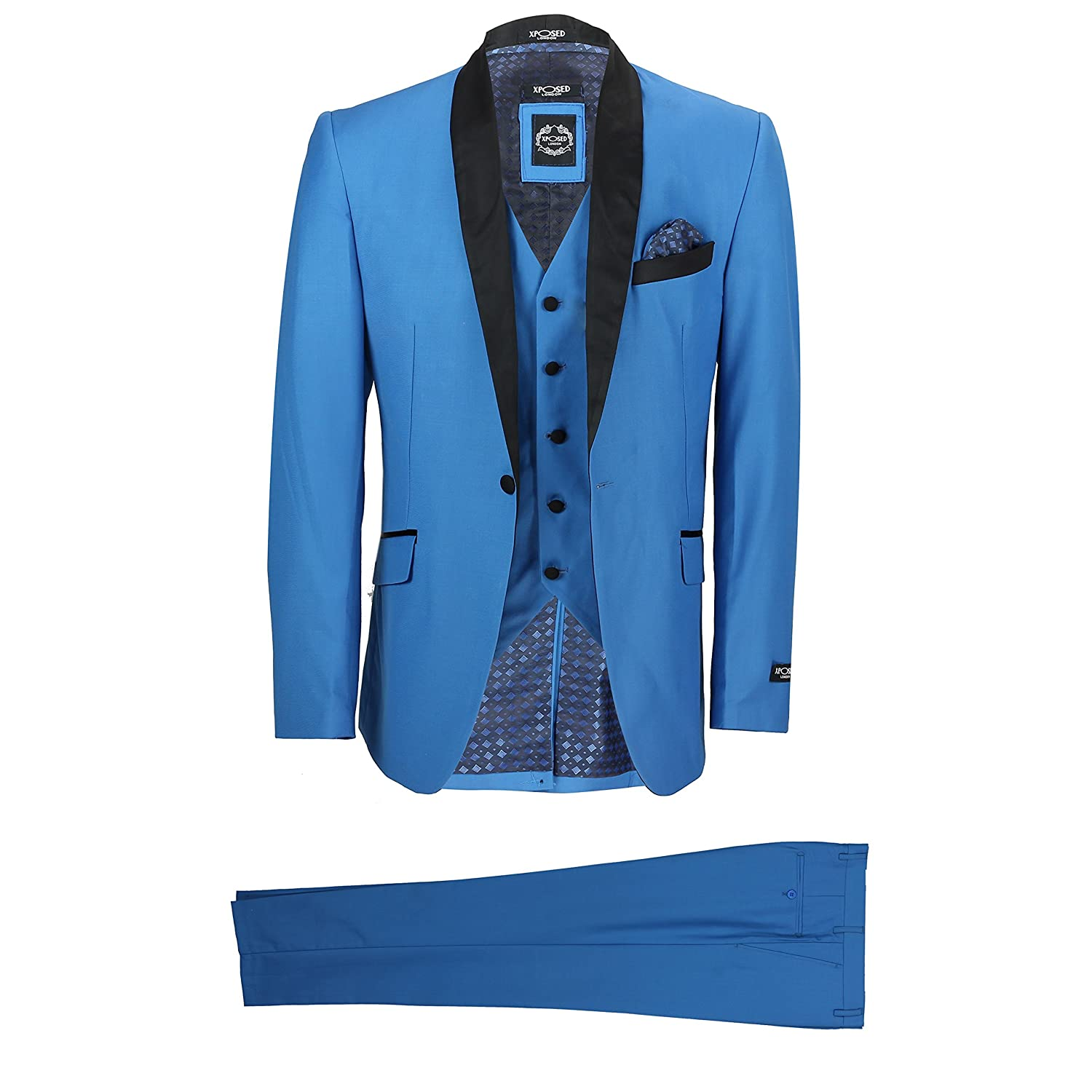 a1fcb19f80c4 XPOSED Mens 3 Piece Suit Teal Blue Shawl Lapels Vintage Smart Tailored Fit  Wedding Party Prom: Amazon.co.uk: Clothing