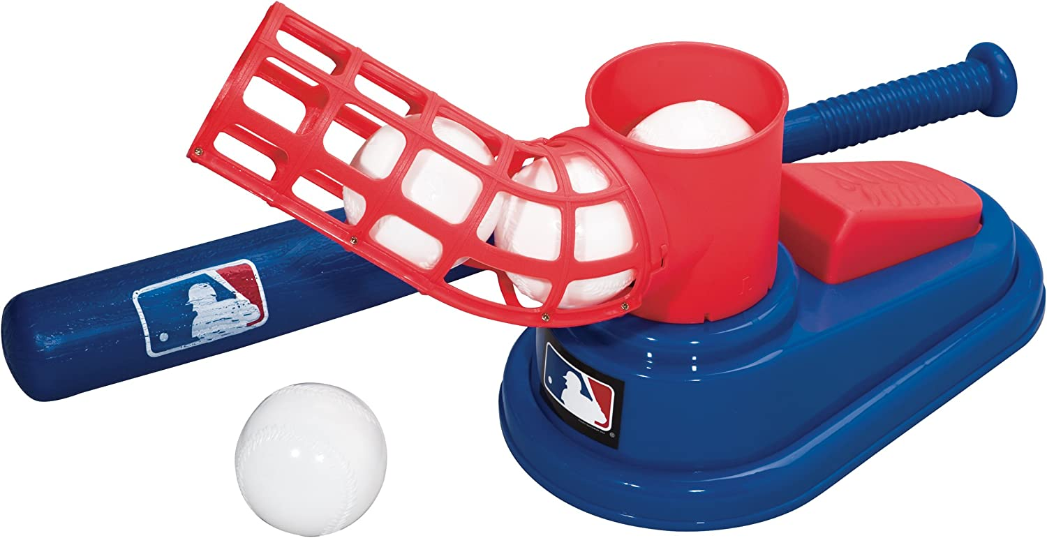 MLB® POP A PITCH: Kids pitching machine! Features baseball trainer that helps with hand & eye coordination skills. Easy step, pop, and swing motion with Durable ABS plastic construction. Comes with 3 AERO-STRIKE plastic baseballs and a 25