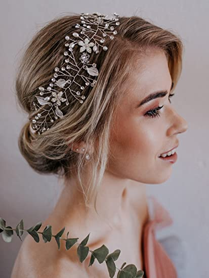 Fascia per capelli in argento con fiore e cristalli Sweetv