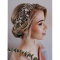 SWEETV Bohémien Headbands Mariage Bandeaux Cheveux Perle Bandeau à Bijoux Tiare Cristal accessoire coiffure mariage pour Femmes, Argent