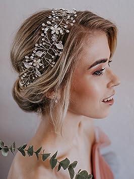 for whole family thoughts on popular brand SWEETV Bohémien Headbands Mariage Bandeaux Cheveux Perle Bandeau à Bijoux  Tiare Cristal accessoire coiffure mariage pour Femmes, Argent