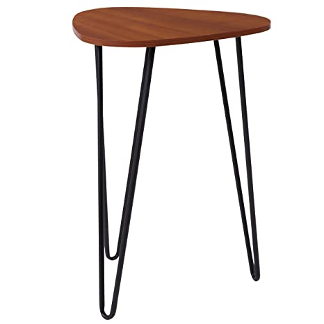 Bon Flash Furniture Charlestown Collection Cherry Wood Grain Finish End Table  With Black Metal Legs