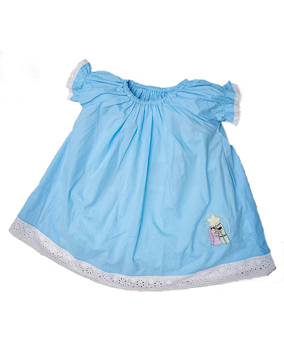Petit Papillon Christmas Nativity Girls Short Sleeve Blue Nightgown