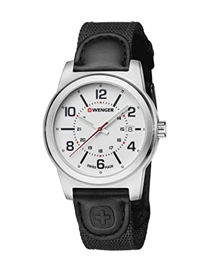 Amazon.com: Wenger 01.0441.162 Mens Field Gear White Dial Black Leather & Nylon Strap Watch: Watches