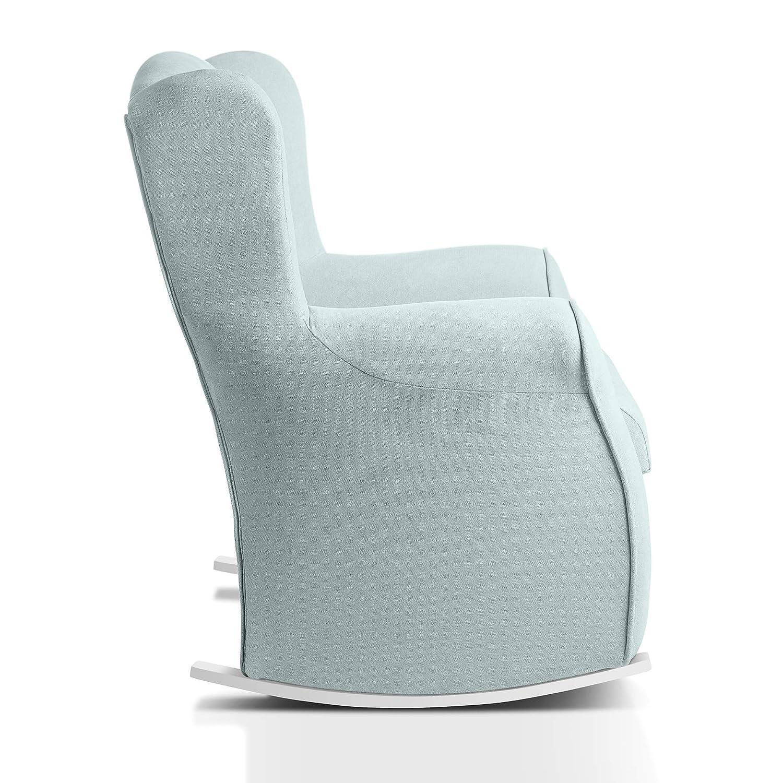 Sillon orejero balancin mecedora. CARLA (Sillon lactancia)Sillón tapizado antimanchas acualine color Verde Agua. Mecedora para dormitorio, salon o ...