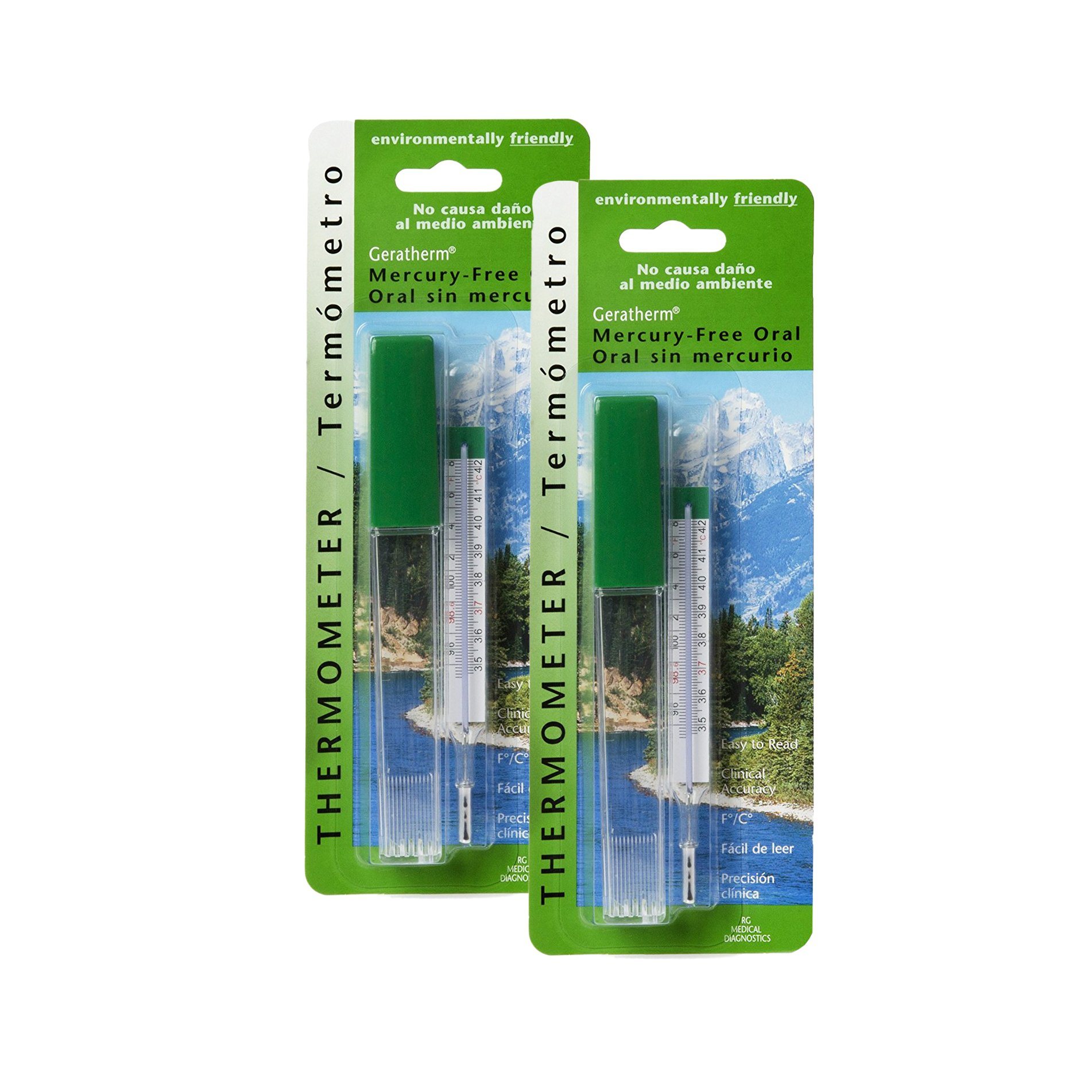 Geratherm Mercury Free Oral Glass Thermometer, Pack of 2
