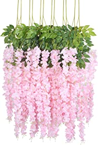 Duovlo 12 Piece Artificial Silk Wisteria Vine 3.6 Feet Ratta Hanging Flower Garland String Home Party Wedding Decor (Light Pink)