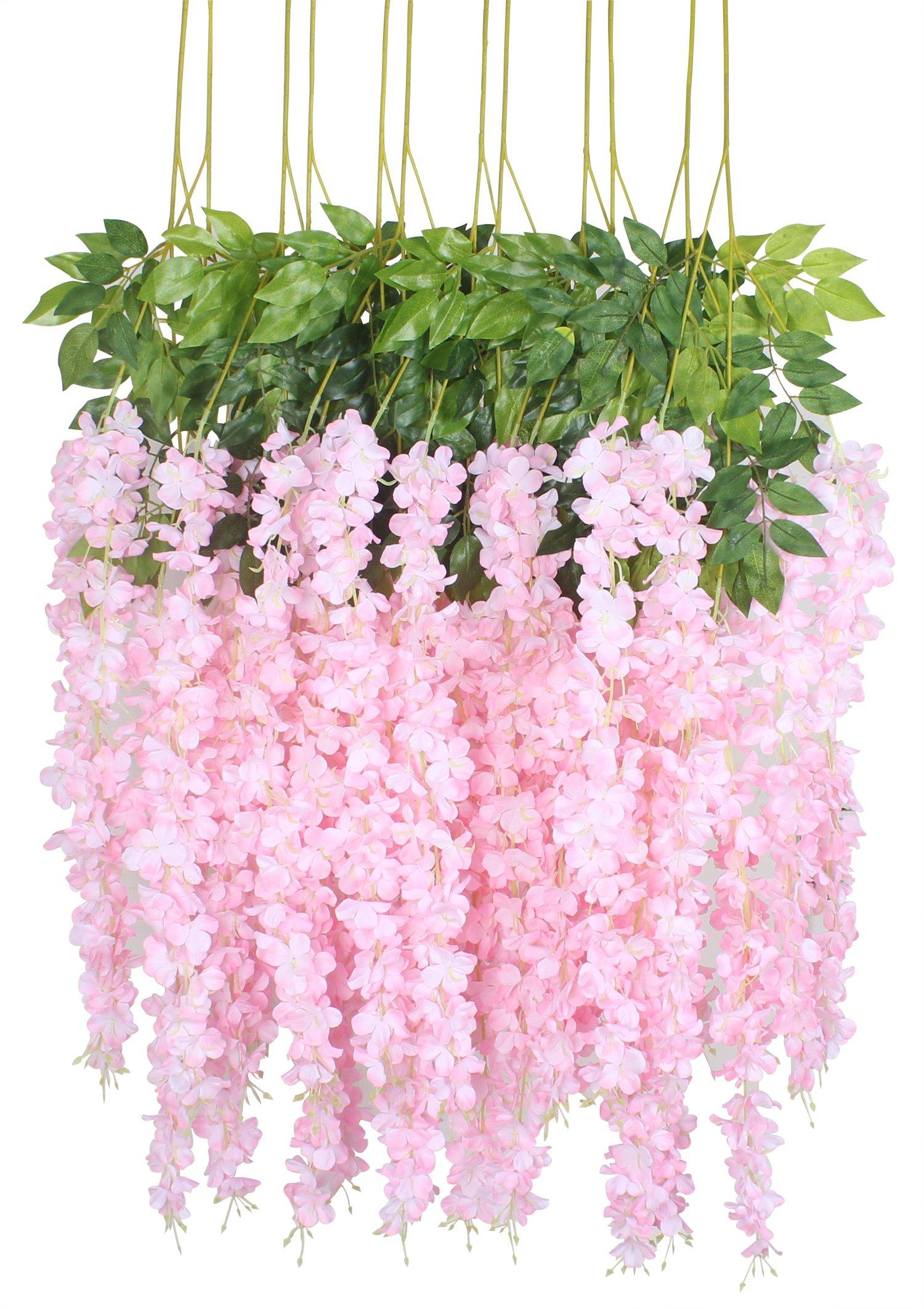 silk flower arrangements duovlo 12 piece artificial silk wisteria vine 3.6 feet ratta hanging flower garland string home party wedding decor (light pink)