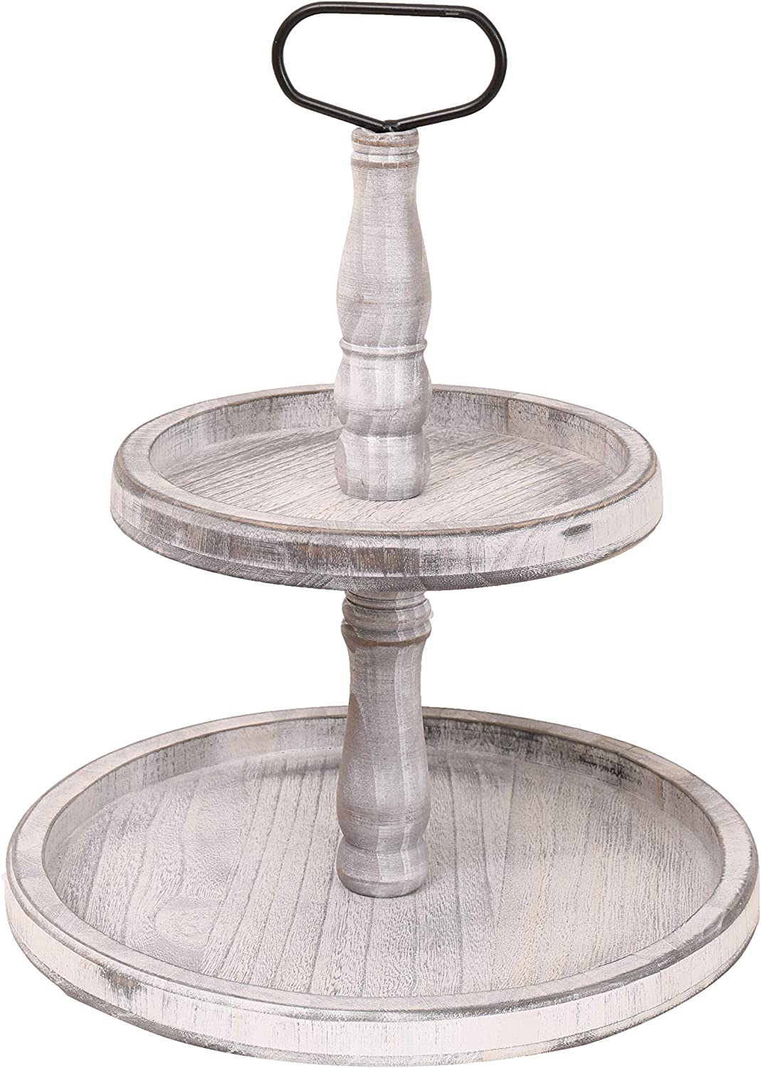 Vintage Wood Two Tiered Tray with Round Metal Handle,Easy to Assemble 2 Tier Home Decor for Tiered Food Presentation Serving Tray,Cupcake Tray (White)