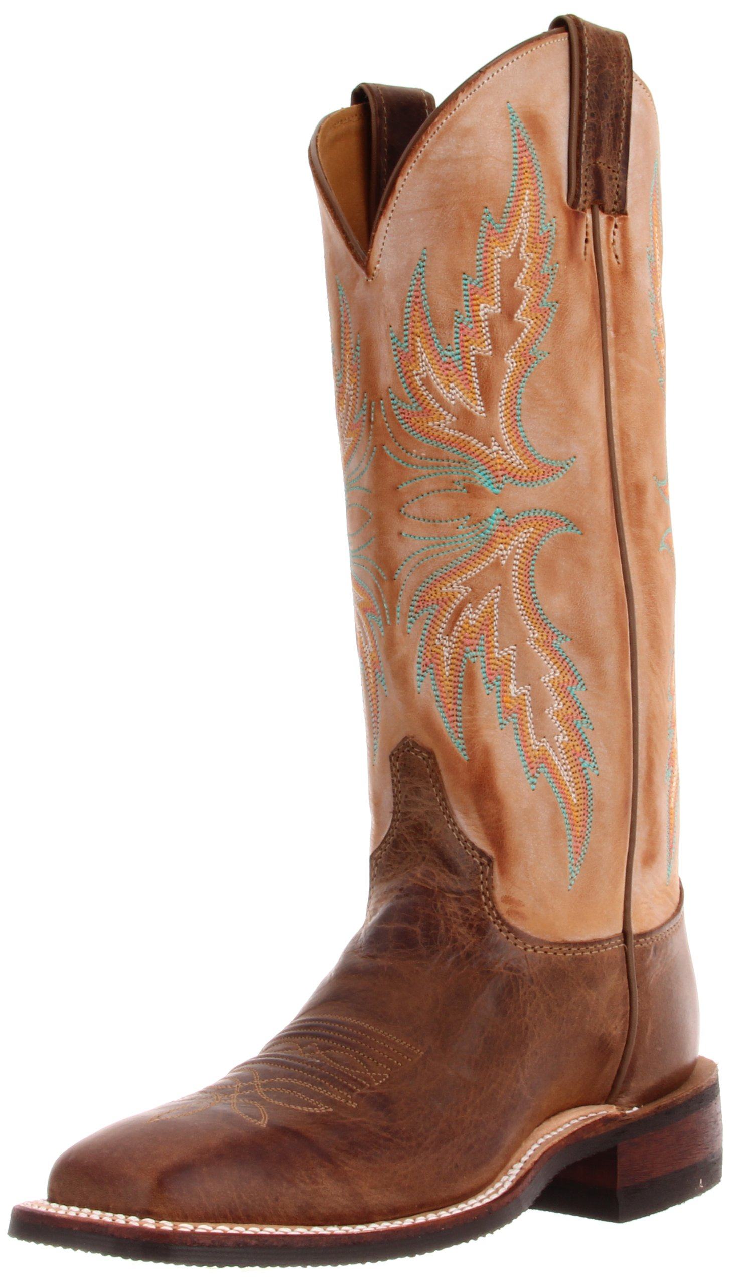 Justin Boots Women's U.S.A. Bent Rail Collection 13'' Boot Wide Square Double Stitch Toe Performance Rubber Outsole,Arizona Mocha/Fogged Camel,6.5 B US