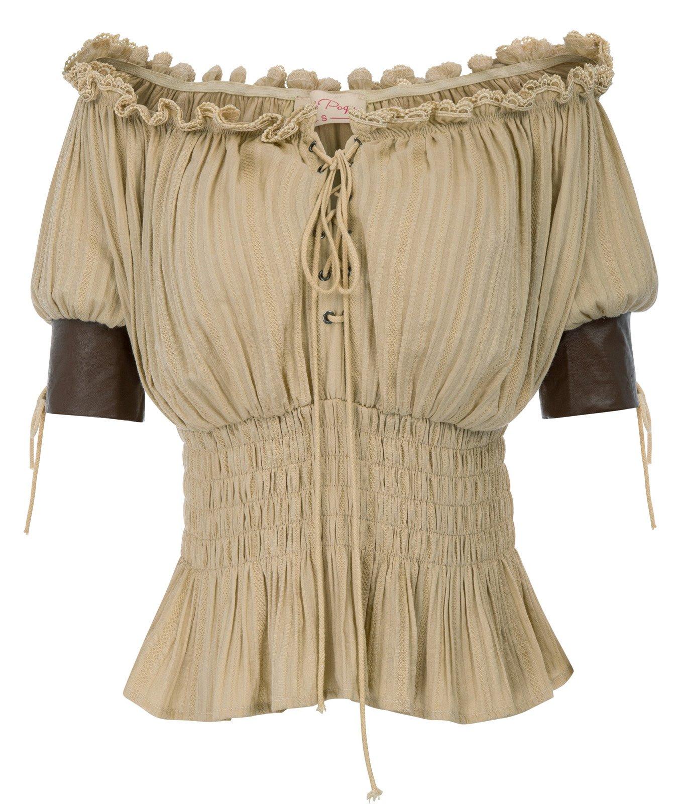 Belle Poque Women Steampunk Half Sleeve T Shirts Tops Gothic Boho Tee Shirts BP581-2 L Kaki