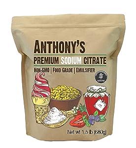 Anthony's Premium Sodium Citrate, 1.5 lb, Non GMO, Food Grade, Emulsifier