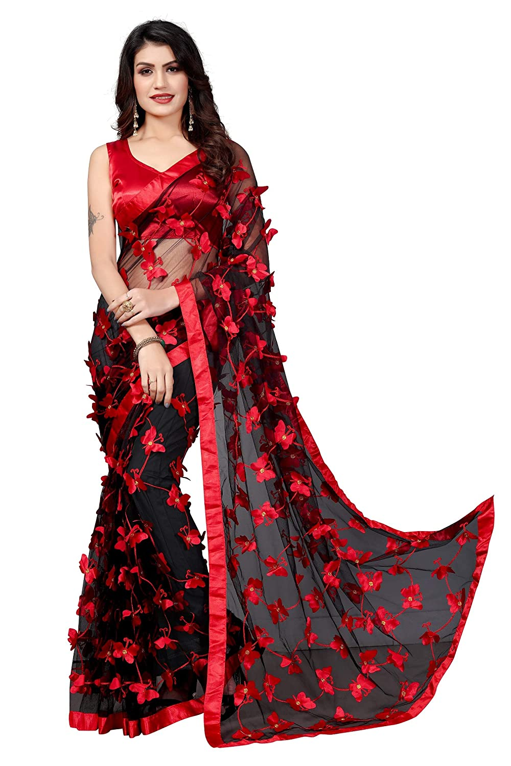 Buy JULEE Women's Net Saree with Blouse Piece (Black) at Amazon.in