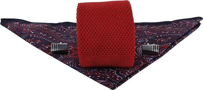 Michelsons of London Corbata de punto de seda de color rojo ...