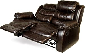 Furniture of America Chellemont Leather-Like Fabric Recliner Love Seat, Dark Brown Finish