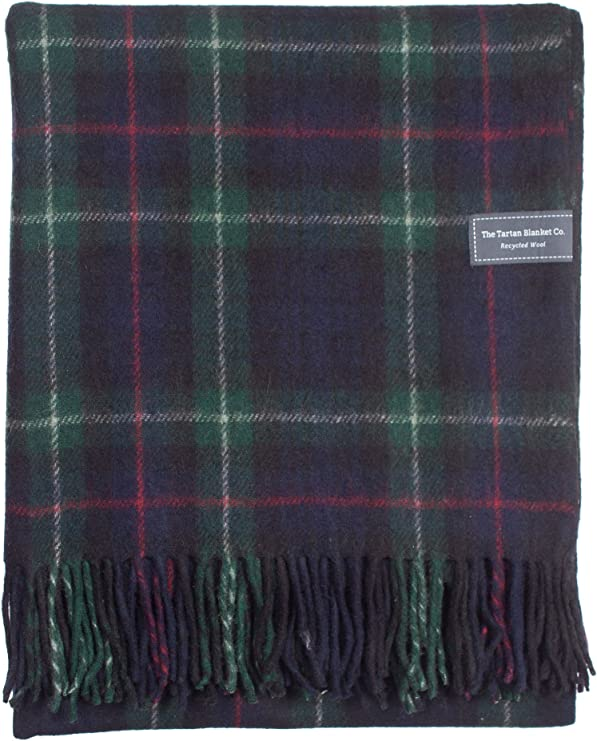 Blanket in Grey Navy Check Tartan Car Cover Tweeds of Scotland Wool Rug