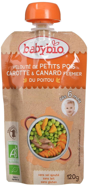 Babybio Gourde Petits Pois-Carotte-Canard Fermier du Poitou 6+ Mois 120 g - Lot de 7 55070 alimentation bébé diversification