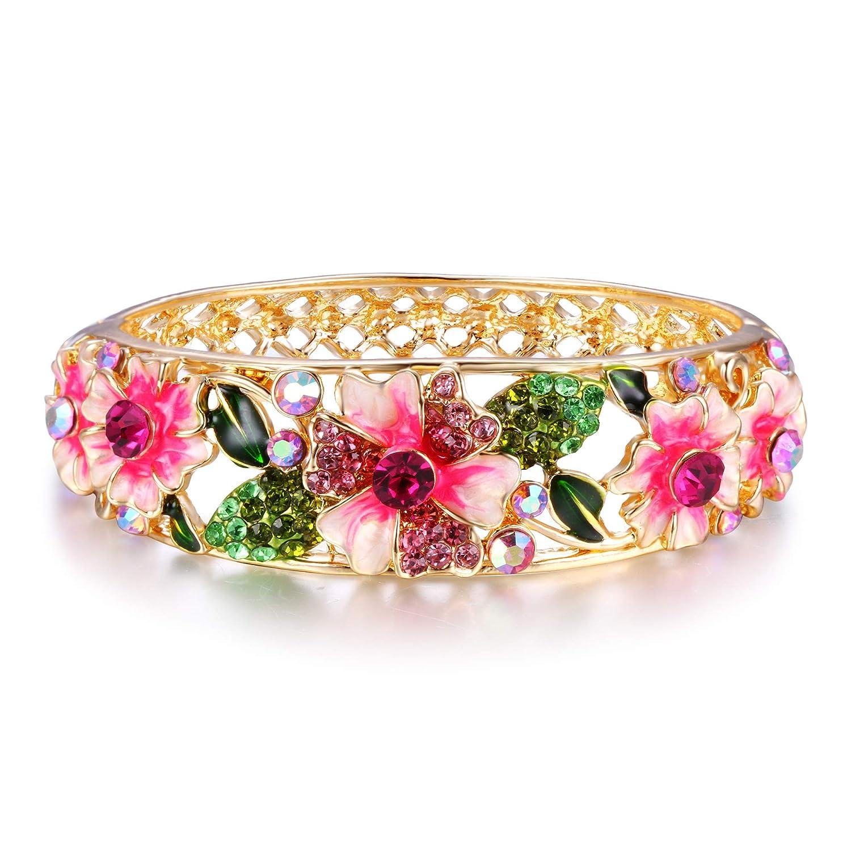 EleQueen Womens Gold-Tone Austrian Crystal Enamel Flower Leaf Bangle Bracelet