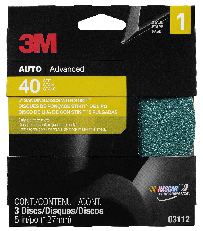 3M Sanding Discs, 03112, 5 in, 40 grit