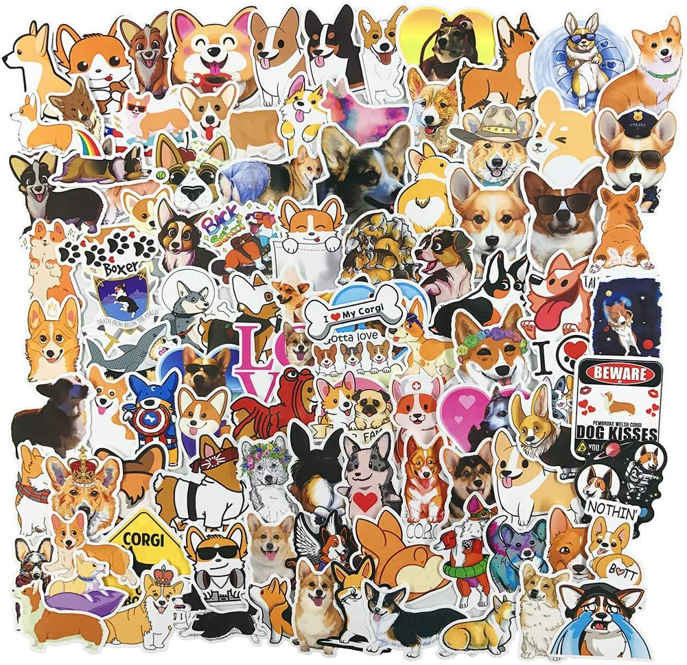 Cute Dog Laptop Stickers, Teen Water Bottle Computer Phone Travel Case Car Skateboard Motorcycle Bicycle Luggage Guitar Bike Decal 100pcs(Welsh Corgi Pembroke)