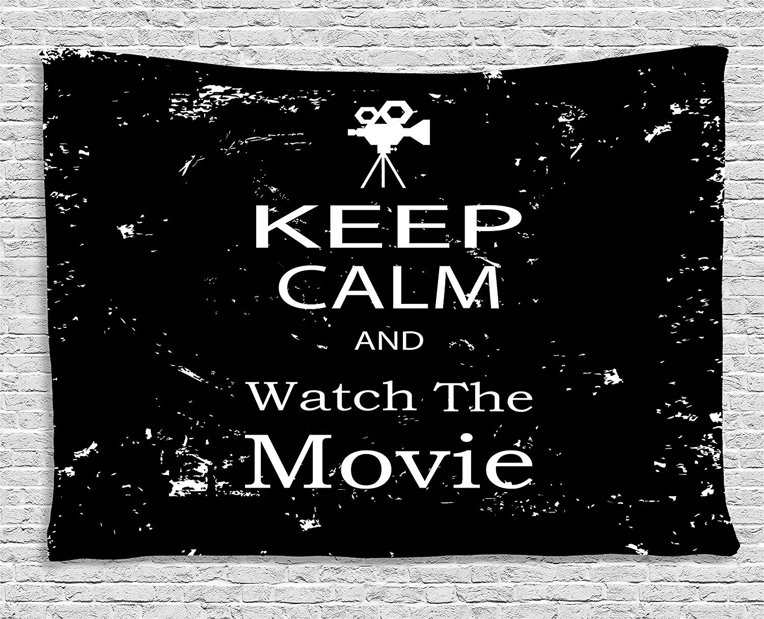 asddcdfdd Keep Calm Tapestry, Watch the Movie Quote for Film Buffs Grungy Weathered Backdrop with Old Camera, Wall Hanging for Bedroom Living Room Dorm, 80 W X 60 L Inches, Black White
