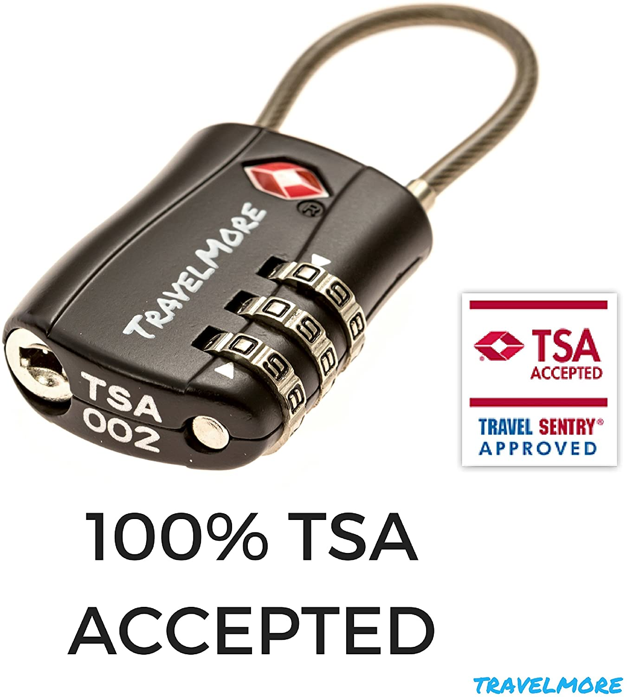 Paquet de 2 Cadenas TSA Noir Cadenas de Voyage /à Combinaison certifi/é TSA pour valises et Sacs /à Dos