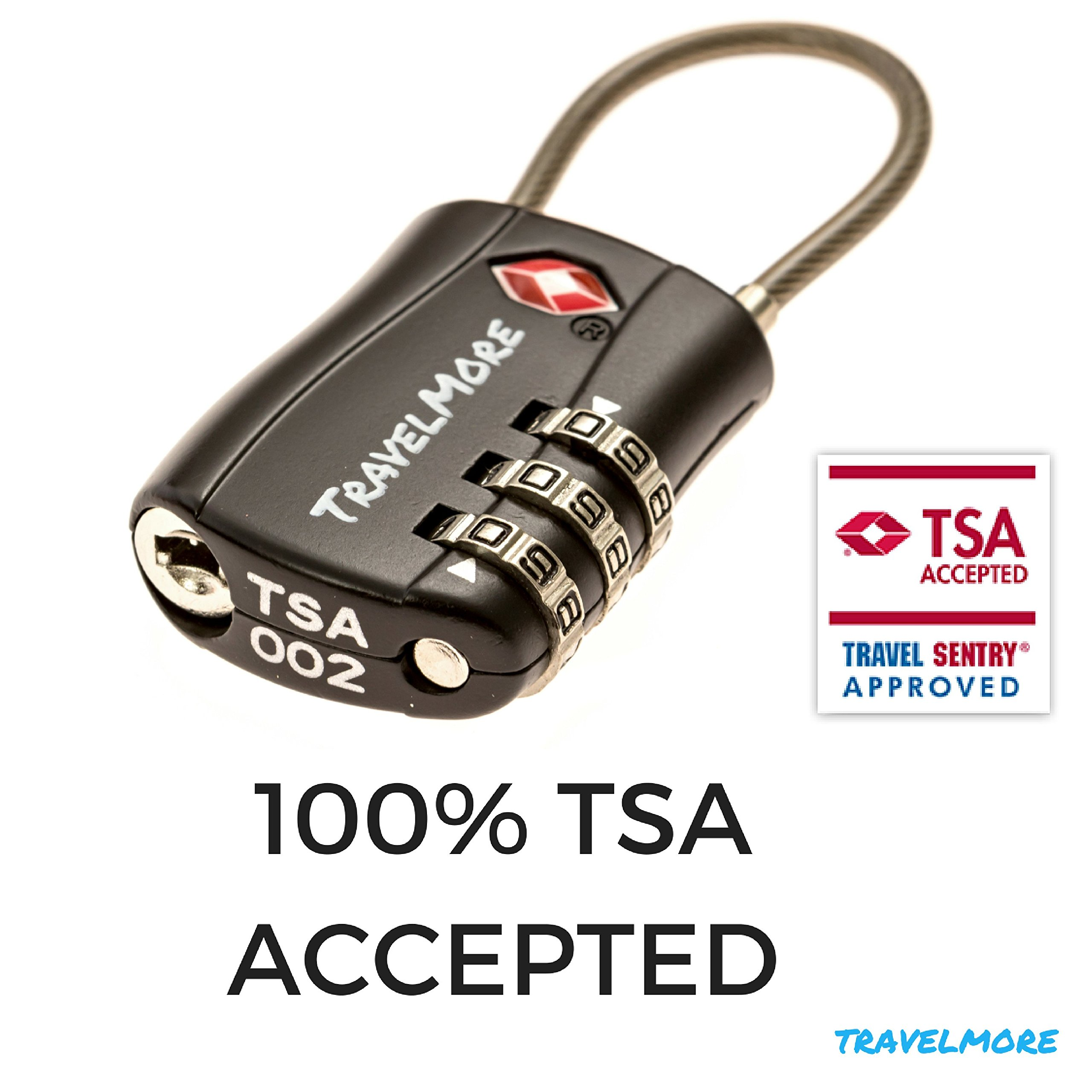 2 Pack TSA Approved Travel Combination Cable Luggage Locks for Suitcases & Backpacks - Black by TravelMore (Image #5)