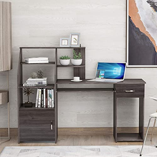 Merax Multi-Functions Computer Desk with Cabinet and Keyboard Tray Office Home Furniture Writing Desk, Grey