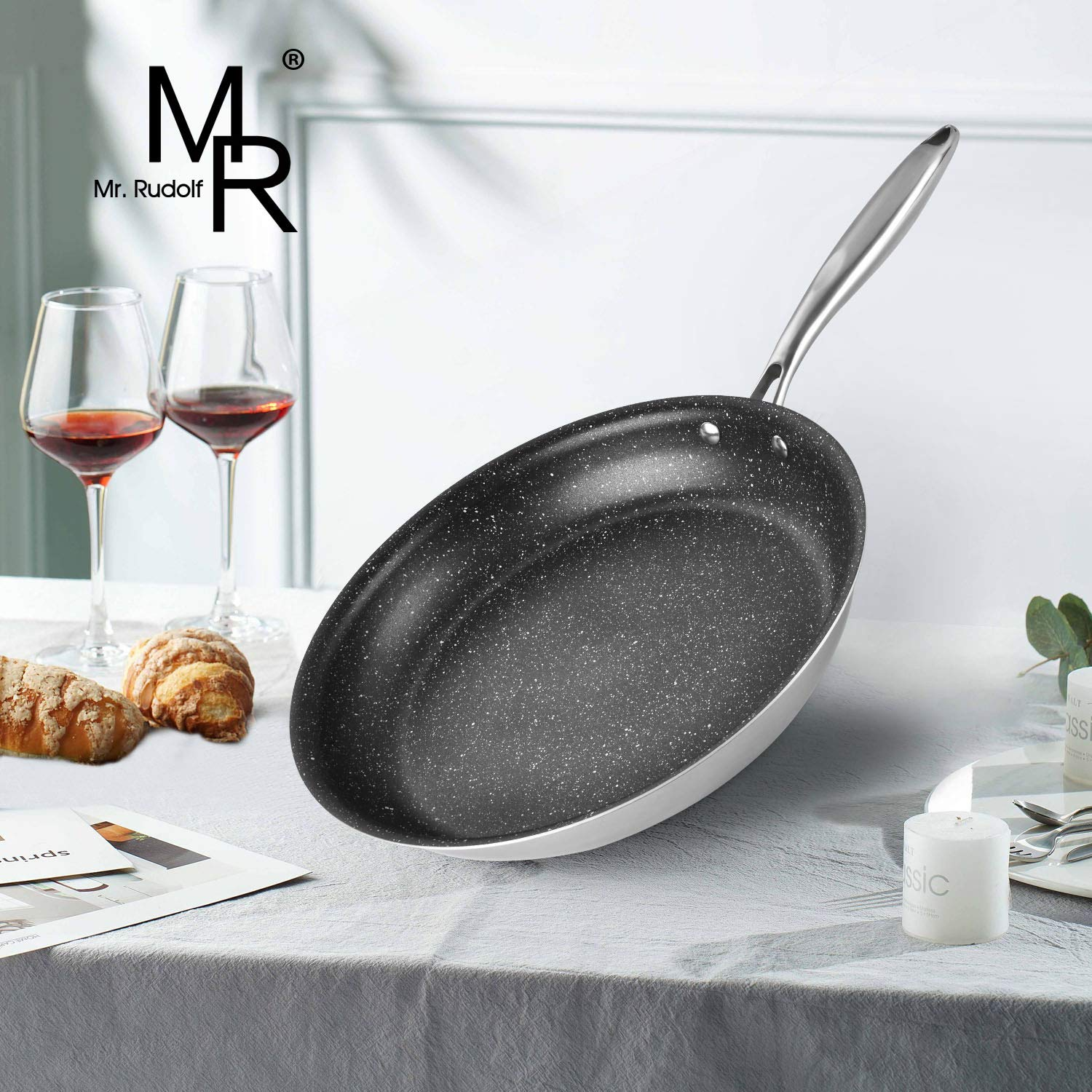 Mr Rudolf 18/10 Tri-Ply Bonded Stainless steel 12 inch Nonstick Frying Pan Skillet Pan PFOA Free Stone-Derived Non-Stick Granite Coating from the US whitford coating