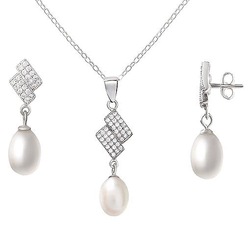 2213fcfc70b4 Agua dulce perlas cultivadas blanco y conjunto de pendientes y collar de  juego de joyas de plata de ley CZ gemas Fine  Amazon.es  Joyería