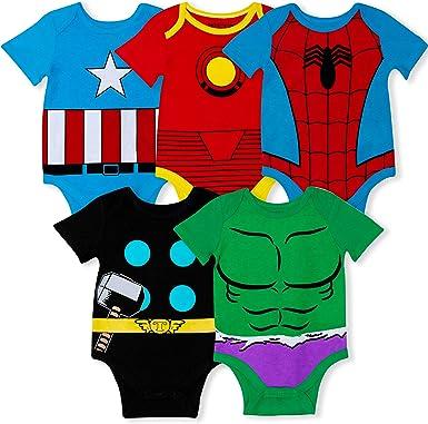Marvel Paquete de 5 enredaderas para bebé Vengadores con Iron Man, Capitán América, Spiderman, Hulk y Thor