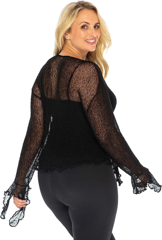Back From Bali Womens Plus Size Sheer Shrug Bolero Long Sleeves Cropped Cardigan Bell Sleeves 2X 3X 4X Lightweight