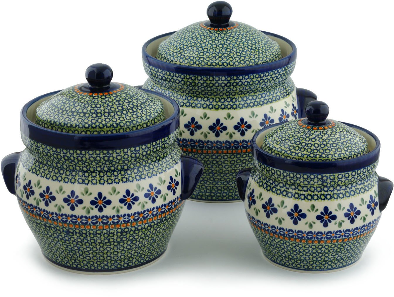 Polish Pottery Set of 3 Jars 10-inch Gingham Flowers