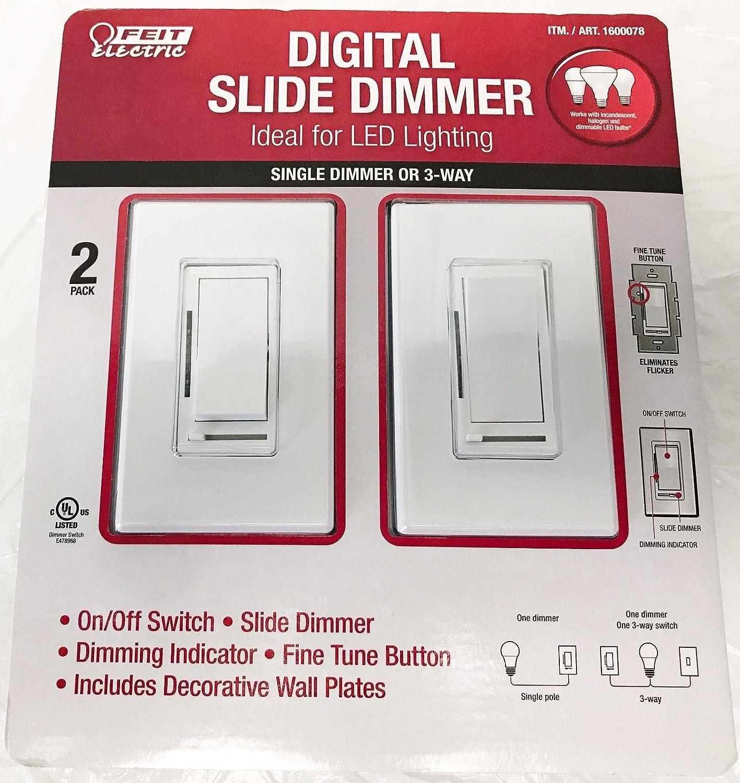 Feit Electric Digital Slide Dimmer Ideal for Led Lighting 2 Pack ...
