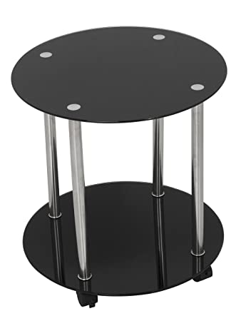King Black Glass End Table Side Table Coffee Table Round 45cm X