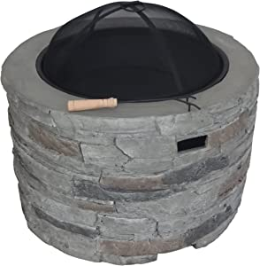 """Christopher Knight Home 304484 Dione Outdoor 32"""" Wood Burning Light-Weight Concrete Round Fire Pit, Grey"""