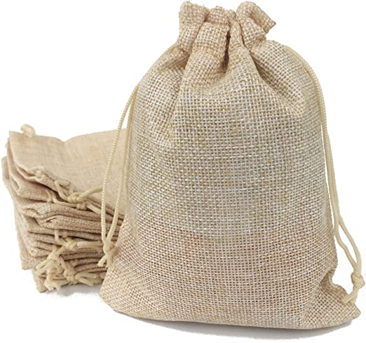 4 x Natural Extra Large for Gifts Jute Bags Hessian Drawstring Pouch