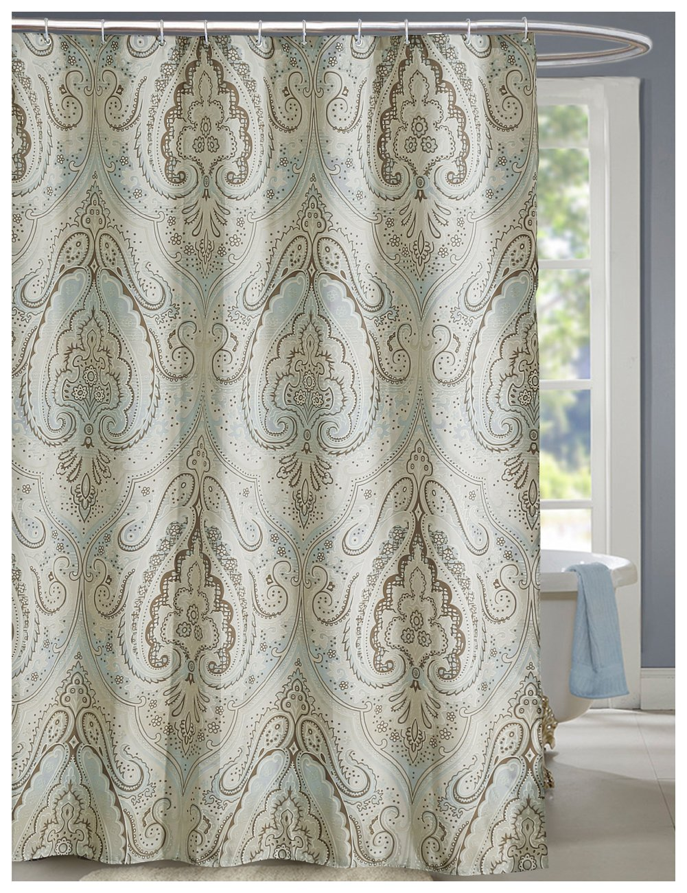 Amazoncom LanMeng Fabric Shower Curtain Classic Paisley Design - Beige and gray shower curtain