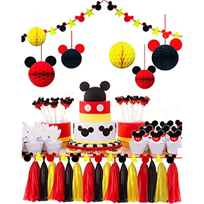 ZOIN Party Supplies Honeycomb Balls Stars Garland Banner Tissue Paper Tassels for Mickey Minnie Theme Party Birthday Baby Shower Decoration Kits (Red Yellow Black): Toys & Games