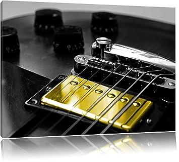 Guitarra eléctrica con controles de tono negro/blanco sobre lienzo, XXL enormes Fotos completamente enmarcado con ...
