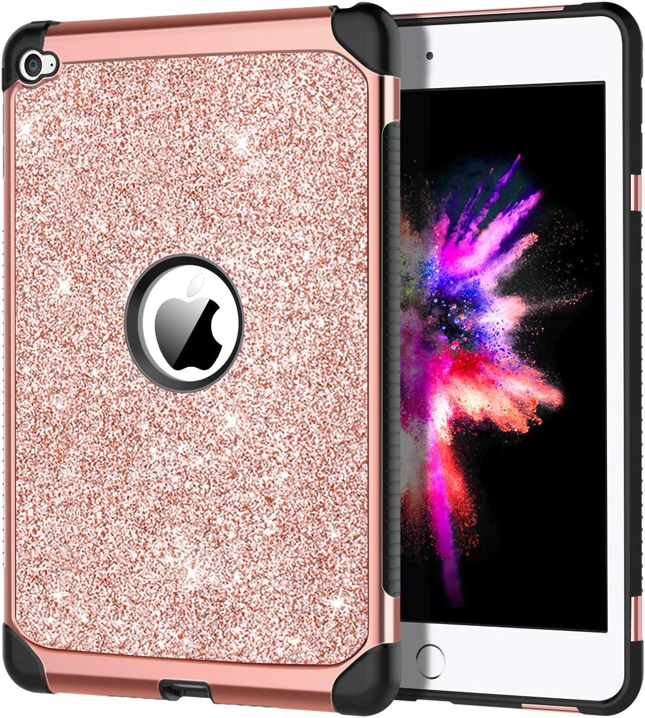 iPad Mini 4 Case, DOMAVER Luxury Glitter Shiny Girls Women Rose Gold iPad Mini 4 Retina Cases Slim Dual Layer Heavy Duty Hard PC Soft TPU Bumper Shockproof Protective Cover for iPad Mini 4