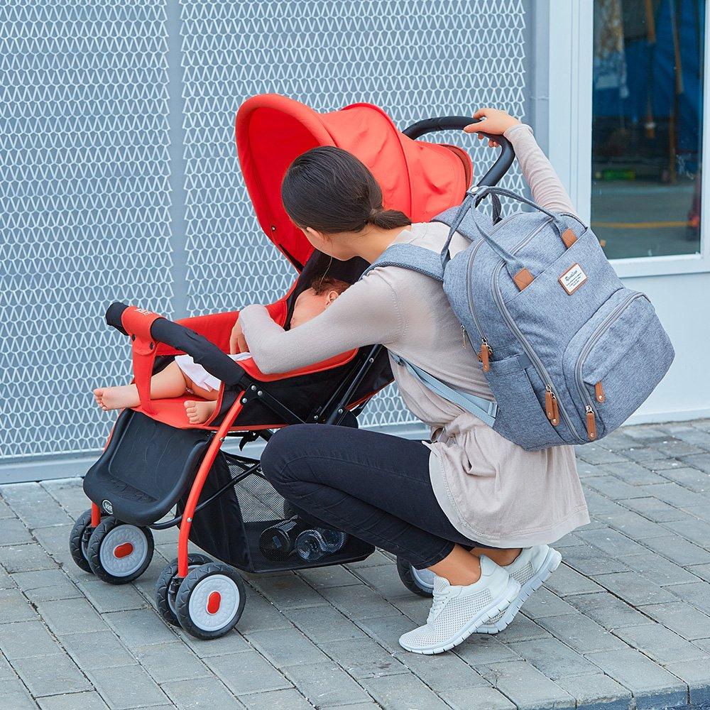 Baby Wickelrucksack Grau Multifunktional Wickeltasche Reise Rucksack Gro/ße Kapazit/ät Babytasche mit Wickelunterlage Passform f/ür Kinderwage Wasserdicht Stoffe Kein Formaldehyd
