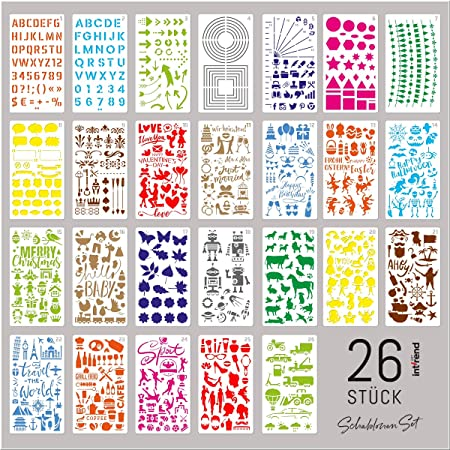 26 template stencil da disegno di plastica bullet journa biglietti di auguri carte di regalo album fotografico int!rend Stencil set da disegnare Scrapbooking stencil per decorazioni di parete