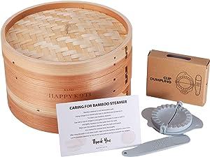 Happykoti Bamboo Steamer Basket for Dumpling, Dim Sum Dumplings, Vegetables, Meat, Seafood with Dumpling Maker – 2 Tier Basket Design 10 Inch Dumpling Steamer - Steamer Baskets for Cooking