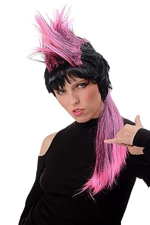 WIG ME UP ® - PT0028 Peluca Mujer Hombre Halloween Carnaval Largo Estilo 80s Punky Punk