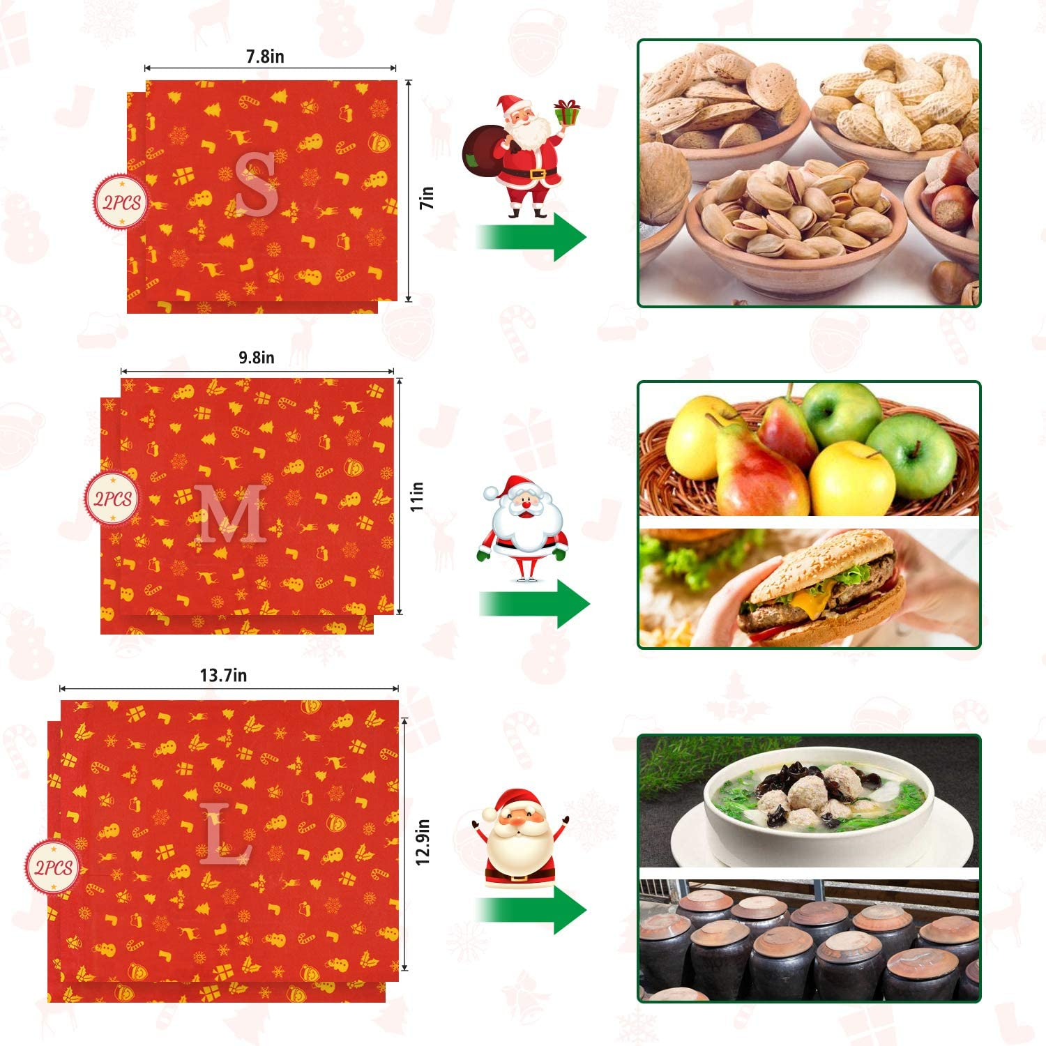 Christmas Beeswax Wrap Joyoldelf 6 Pcs Reusable Food Wrap Eco Friendly Sustainable Beeswax Food Wrap For Sandwich Cheese Fruit Bread Snacks