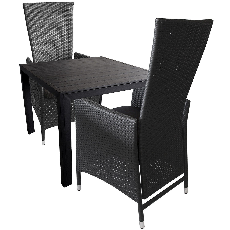 3tlg. Bistrogarnitur 2x Aluminium Rattansessel inkl. Sitzkissen mit verstellbarer Rückenlehne + Alu Gartentisch mit Polywood Tischplatte 90x90cm - Sitzgruppe Sitzgarnitur Terrassenmöbel
