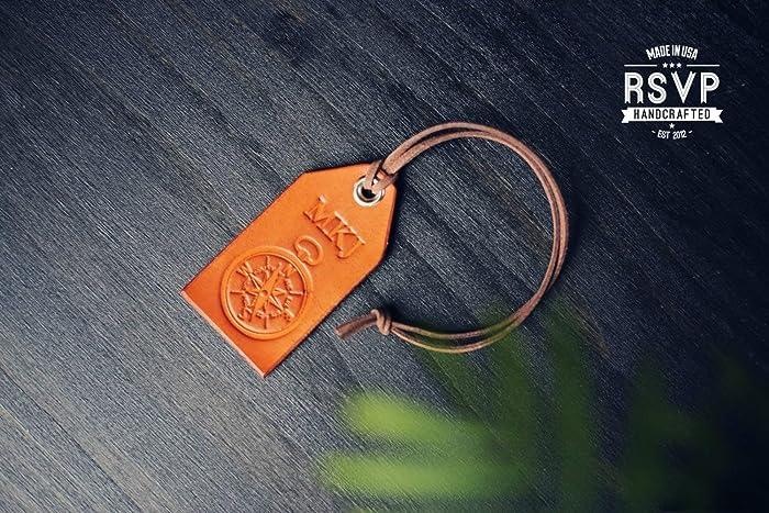 Amazon Custom Leather Luggage Tag Initials Key Chain Wedding