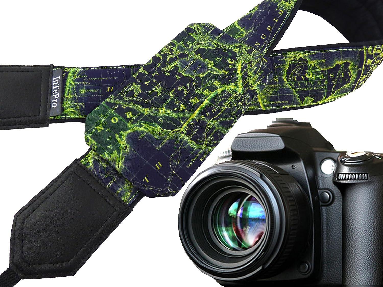 00383 World Map Camera Strap DSLR//SLR Camera Strap with Pocket Great Gift for Traveler Photographer Gift Dark Blue /& Lime Camera Accessory